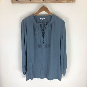 NWOT Madewell long sleeve lace up tunic
